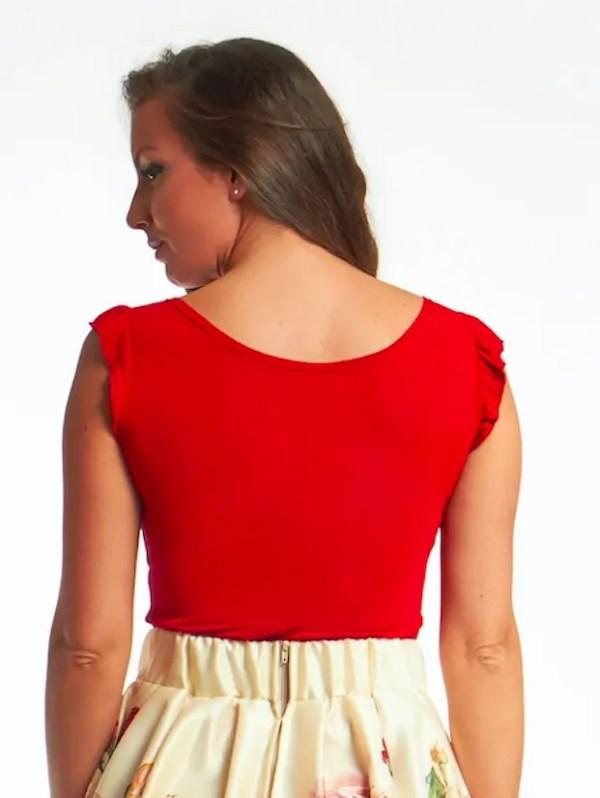 CHICK-006 divatos fodros vállú női póló bordó