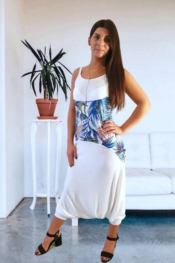 NXM-189 fehér kék mintás női divat overál