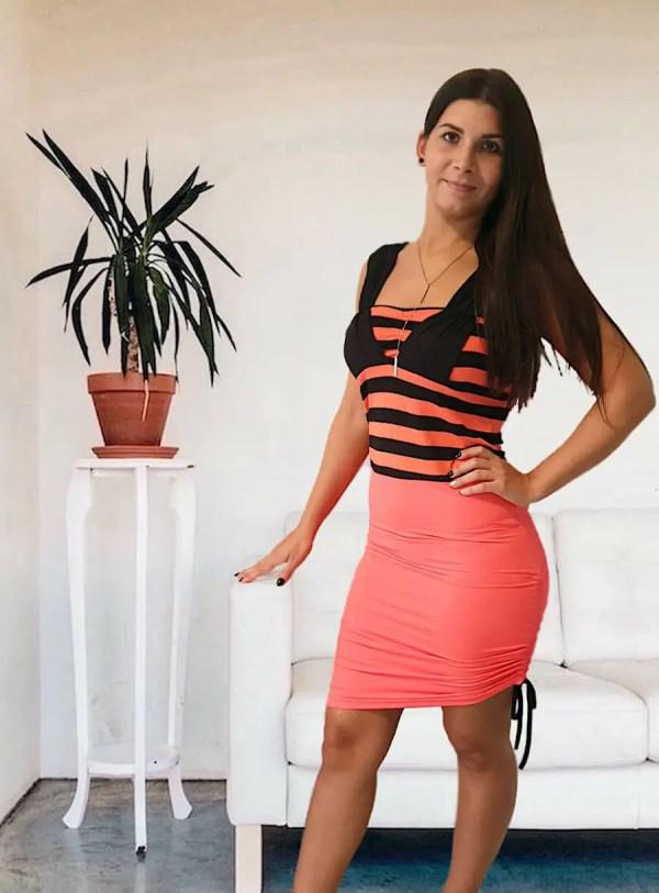 NXM-210 oldalt megkötős mini ruha narancs