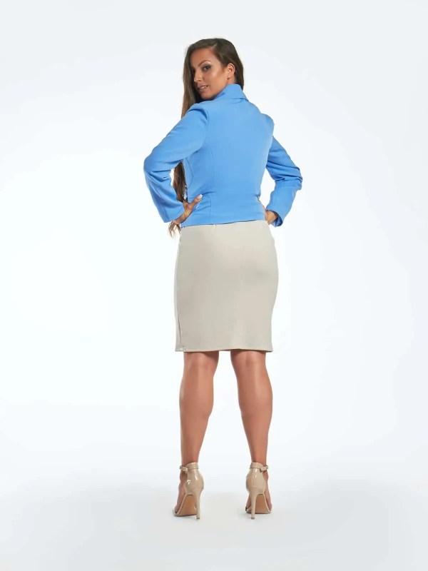 karcsúsított fazonú divatos női blézer kék