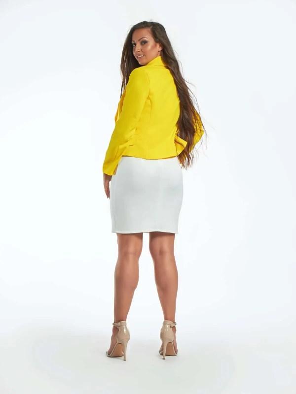 karcsúsított fazonú divatos női blézer sárga