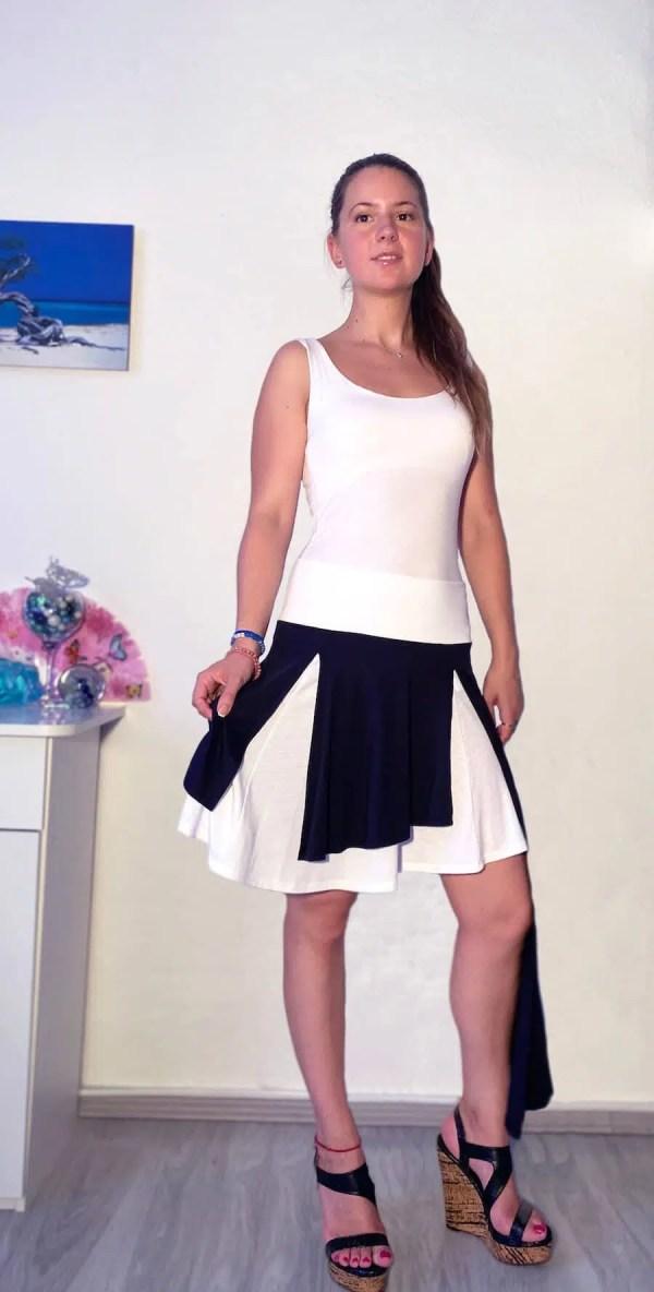 NXM-182 féloldalas szoknya fekete-fehér