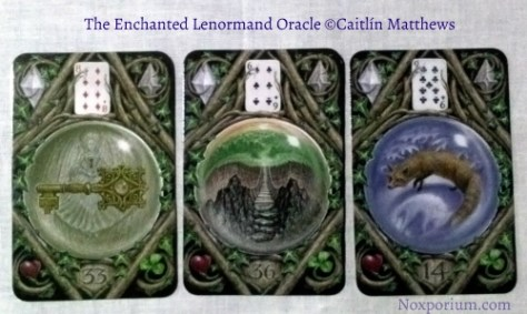 The Enchanted Lenormand Oracle: Key-33, Crossing-36, & Fox-14.