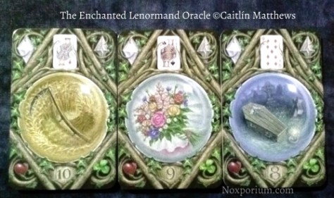 The Enchanted Lenormand Oracle: Scythe-10, Bouquet-9, & Coffin-8.