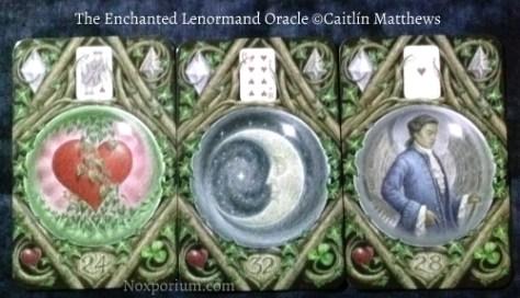 The Enchanted Lenormand Oracle: Heart-24, Moon-32, & Man-28.