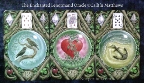 The Enchanted Lenormand Oracle: Birds-12, Heart-24, Anchor-35.