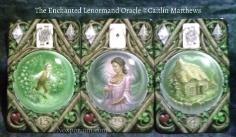 The Enchanted Lenormand Oracle: Child-13, Woman-29, & House-4.