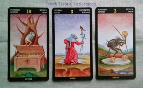 Bosch Tarot: 10 of Pentacles, 3 of Swords, & 3 of Pentacles