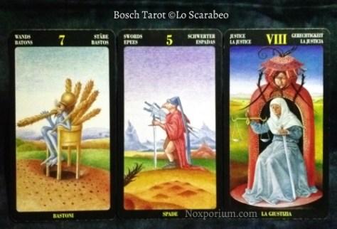 Bosch Tarot: 7 of Wands, 5 of Swords, & Justice.