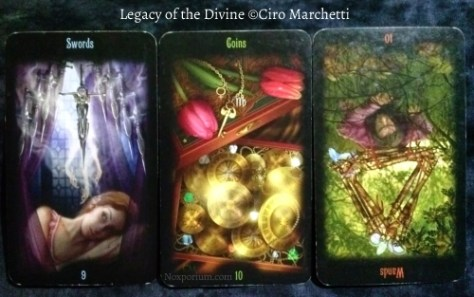 Legacy of the Divine: 9 of Swords, 10 of Coins, & 10 of Wands reversed.