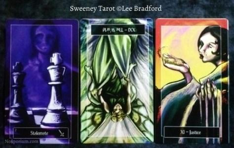 Sweeney Tarot: 2 of Swords, The World reversed, & Justice.