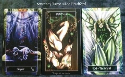 Sweeney Tarot: 9 of Swords, Animal [XV] reversed, & The World.