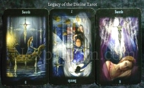 Legacy of the Divine: 6 of Swords, 7 of Swords (rv), & 9 of Swords.