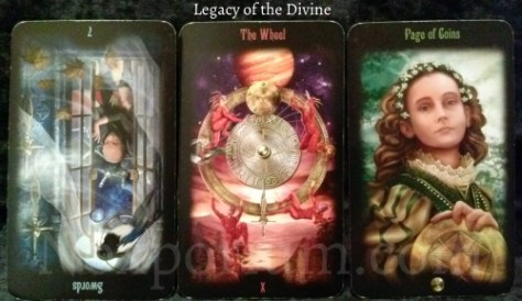 Legacy of the Divine Tarot: 7 of Swords reversed, The Wheel, & Page of Coins.