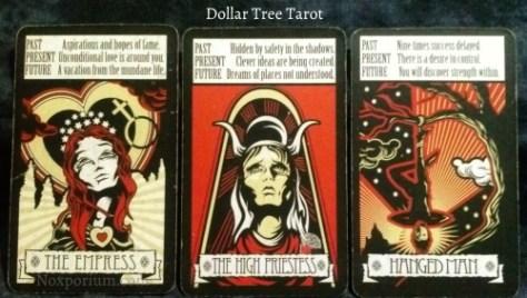The Dollar Tree Tarot Majors: The Empress, The High Priestess, & Hanged Man.