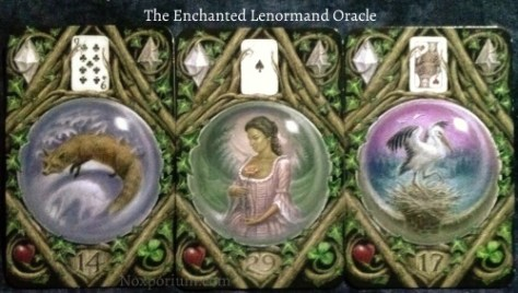 The Enchanted Lenormand Oracle: Fox (14), Woman (29), & Stork (17).