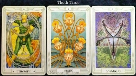 Thoth Tarot: The Fool, 6 of Cups, & 5 of Swords.