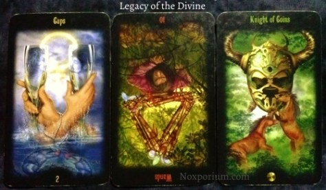Legacy of the Divine: 2 of Cups, 10 of Wands reversed, & Knight of Coins.