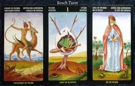 Bosch Tarot: Knight of Swords, Ace of Wands, & King of Swords.