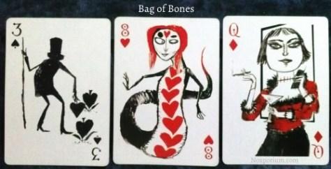 Bag of Bones: 3 of Spades, 8 of Hearts, & Queen of Diamonds.