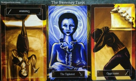 The Sweeney Tarot: 2 of Wands reversed, Page of Swords, & 10 of Wands.