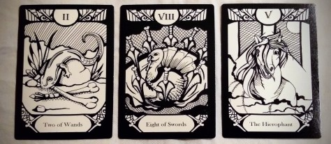 Animalis Os Fortuna: Two of Wands, Eight of Swords, & The Hierophant [V].