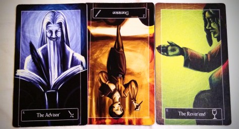 Sweeney Tarot: King of Swords, 2 of Wands (reversed), & King of Cups.