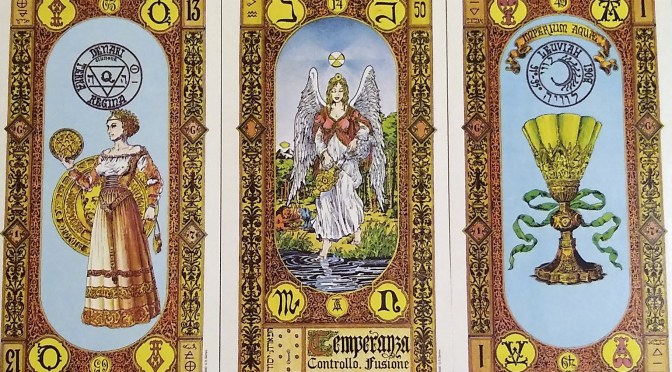 Stairs of Gold: Queen of Coins, Temperance, & Ace of Cups.
