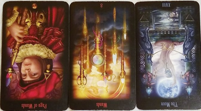 Legacy of the Divine: Page of Wands (reversed), 8 of Wands (reversed), & The Moon [XVIII] (reversed).