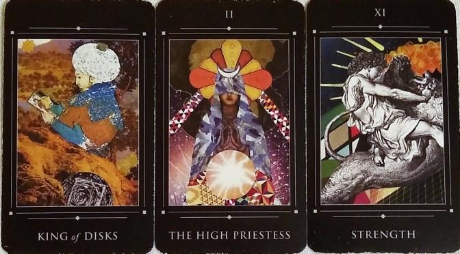 Red Magician Tarot: King of Disks, The High Priestess [II], & Strength [XI].