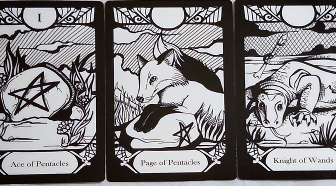 Animalis Os Fortuna: Ace of Pentacles, Page of Pentacles, & Knight of Wands.
