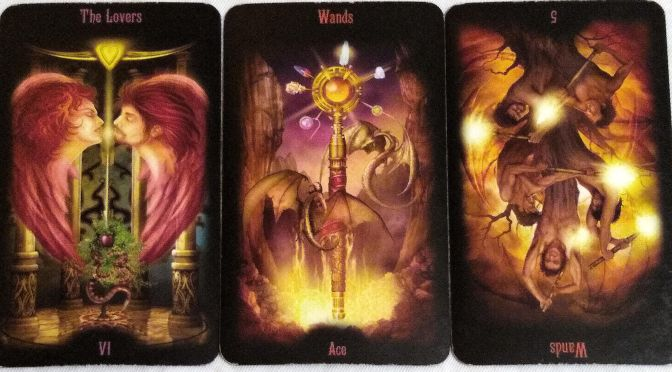Legacy of the Divine: The Lovers, Ace of Wands, 5 of Wands (reversed).