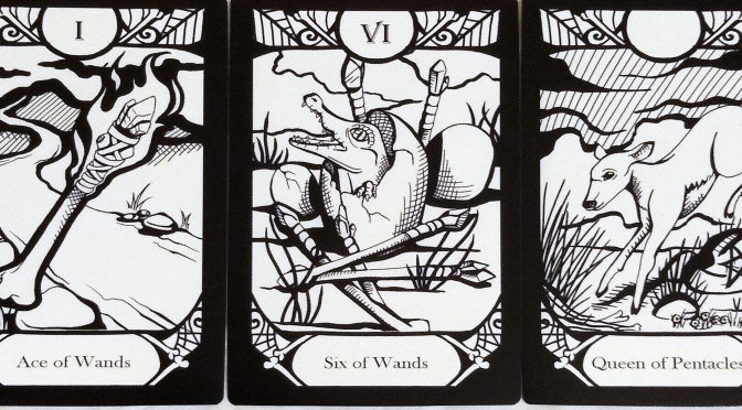 Animalis Os Fortuna: Ace of Wands, Six of Wands, & Queen of Pentacles.