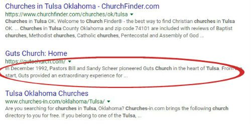 church search results red markup