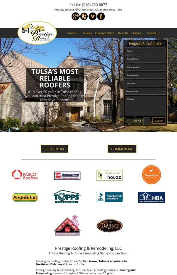 Prestige Roofing New Site