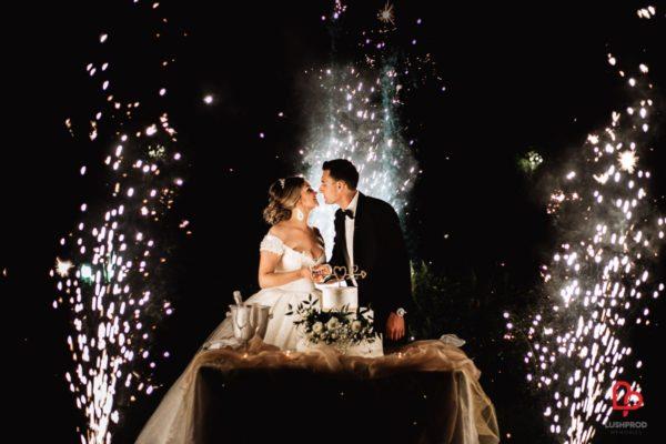 Fuochi d'artificio matrimonio taglio torta