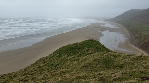 A windy Rhossili Bay