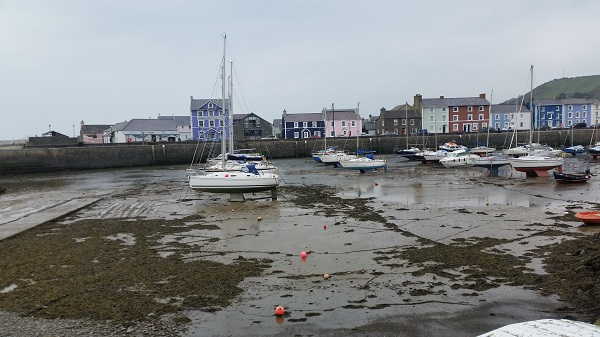 Aberaeron with the Harbourmaster Hotel in blue opposite