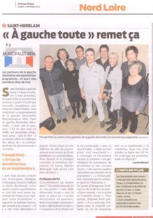 Article de Presse-Océan, Saint-Herblain, 11 février 2014