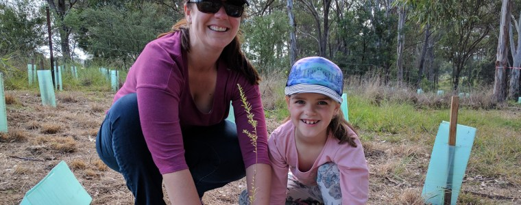 Emma Reynolds plants a tree in honour of her mum, Bernadette Mackinnon