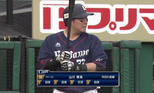 【悲報】山川穂高 5打席0打数0安打5出塁