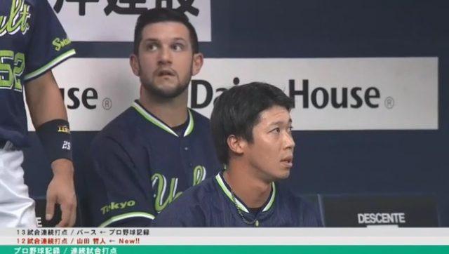 DHC山田哲人さん、12試合連続打点となる26号ホームランwwwwwwww