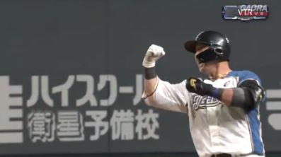 【GIF】日本の4番・中田翔さん、9回裏2アウトから同点タイムリーヒットwwwwww