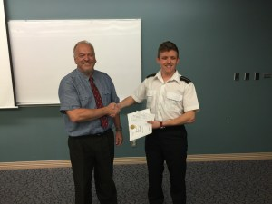 2015 First Year Achievement Award winner, Cadet Andrew Lehman
