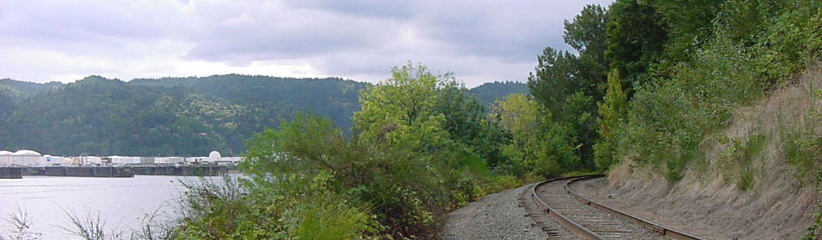 View from railroad tracks looking south