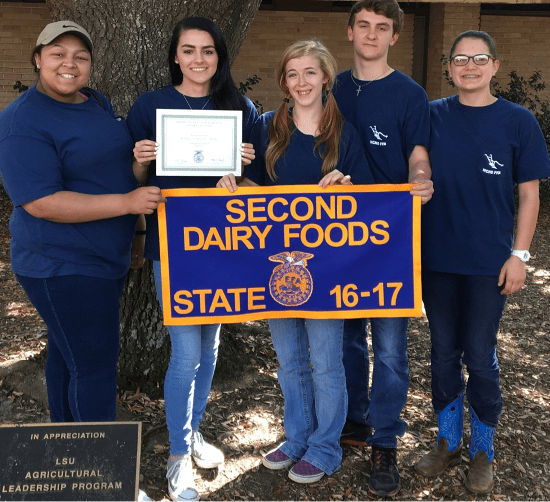 State Runner Up_Dairy Foods_Olivia Carrol, Kaitlyn Cormane, Amber Prothro, Malcolm Montgomery, and Allie Bennett