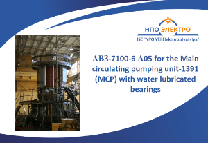 АВЗ-7100-6 А05 for the Main circulating pumping unit-1391 (MCP) with water lubricated bearings