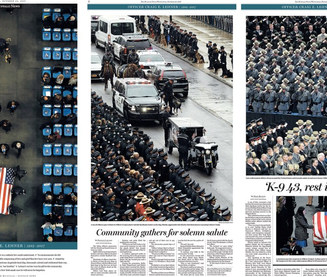 From Left The Front Page With Photo By Mark Mulville Page 2 With Photo By Derek Gee And Page 3 With Photos By Harry Scull Jr All Of The Buffalo News