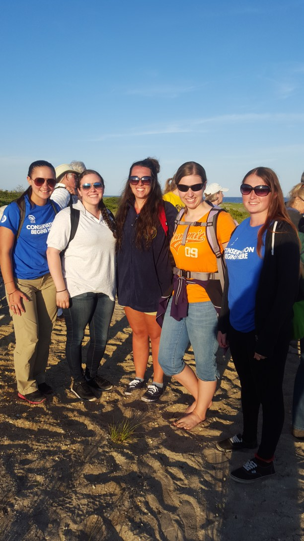 Me (Centennial Volunteer Ambassador), Kaileigh (Latino Heritage Intern), Allie (SCA Environmental Educator Intern), Ruth (FINS Seasonal Ranger), Chelsea (SCA Environmental Educator Intern) right before the hike to the breach