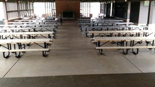 The 11 picnic tables added to the pavilion